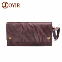 JOYIR New Genuine Leather Men Wallets Leather Men bags clutch bags wallet leather long wallet with coin pocket zipper men Purse