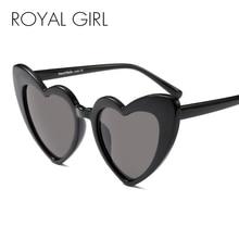 цена на ROYAL GIRL Newest Love Heart Shape Sunglasses Women Vintage Black Pink Red Acetate Frame Gray Brown Lens Sun Glasses UV400 ss883