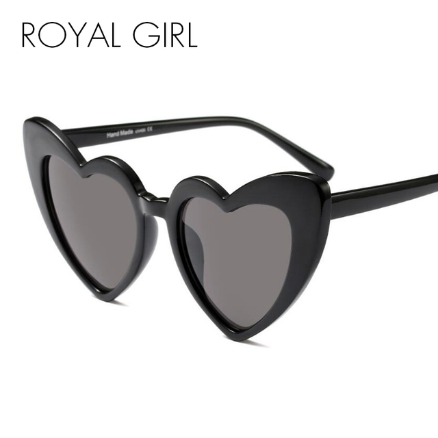 ba339204c9a ROYAL GIRL Newest Love Heart Shape Sunglasses Women Vintage Black Pink Red  Acetate Frame Gray Brown Lens Sun Glasses UV400 ss883