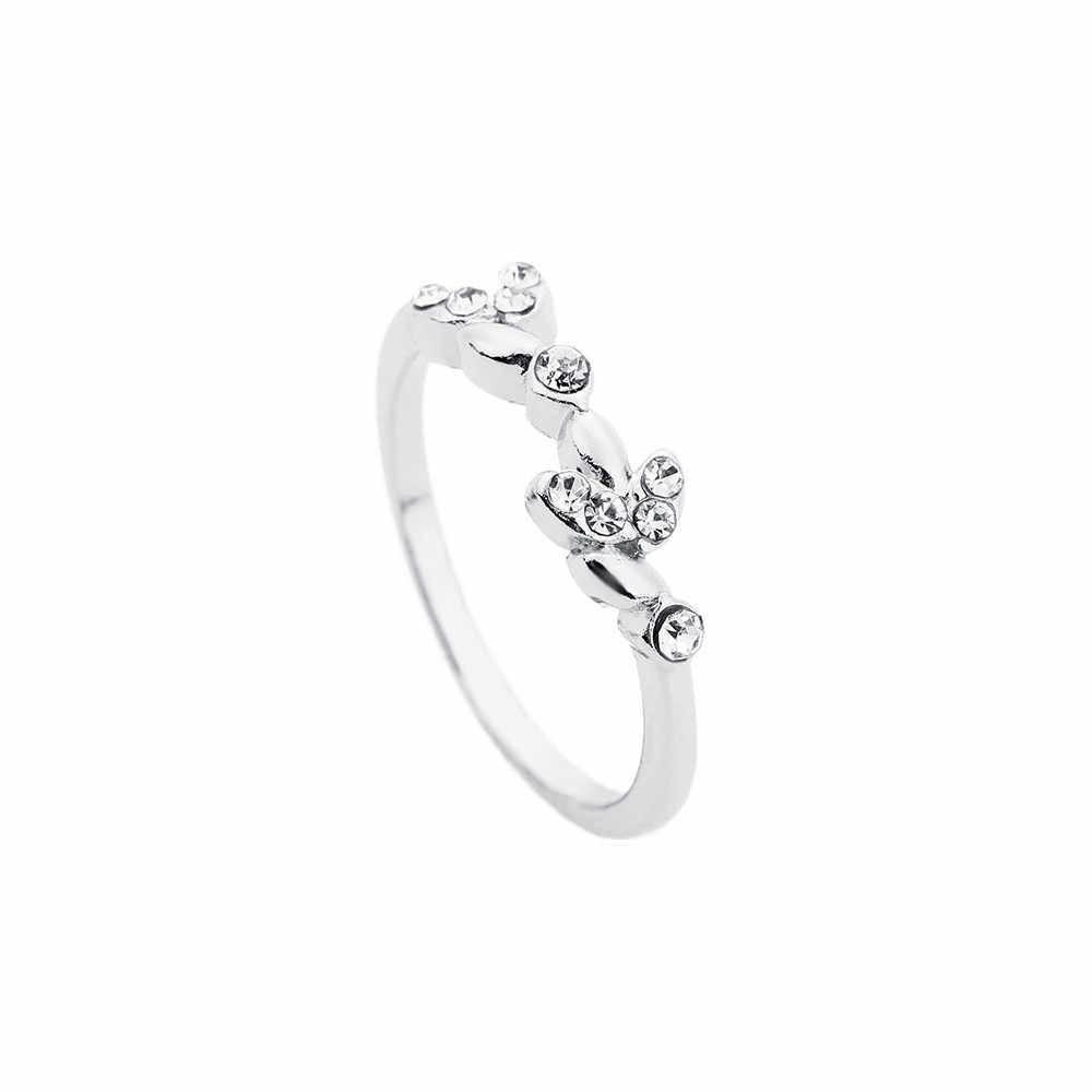 2019 ローズゴールドシルバーカラーキュービックジルコンリーフデザインのウェディング婚約指輪女性のためのビジュー宝石類のギフト Mujer Anillos