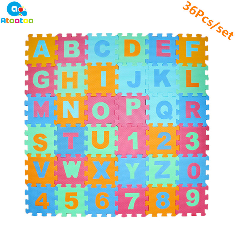 36Pcs Educational Baby Play Mat Eva Foam Number Letter Interlocking Puzzle Carpet Mat Kids Developing Crawling Play Mats ...