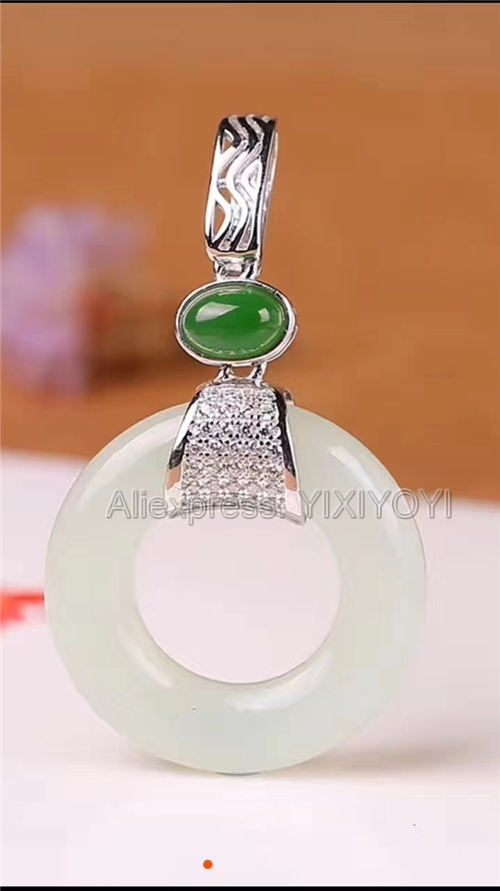 Beautiful 925 Sterling Silver White Green HeTian Jade Round Hollow Lucky Amulet Pendant + Free Necklace Fine Jewelry Charm GiftBeautiful 925 Sterling Silver White Green HeTian Jade Round Hollow Lucky Amulet Pendant + Free Necklace Fine Jewelry Charm Gift
