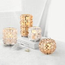 European crystal candle holders centros de mesa para boda Candlestick glass holder wedding candles home decoration