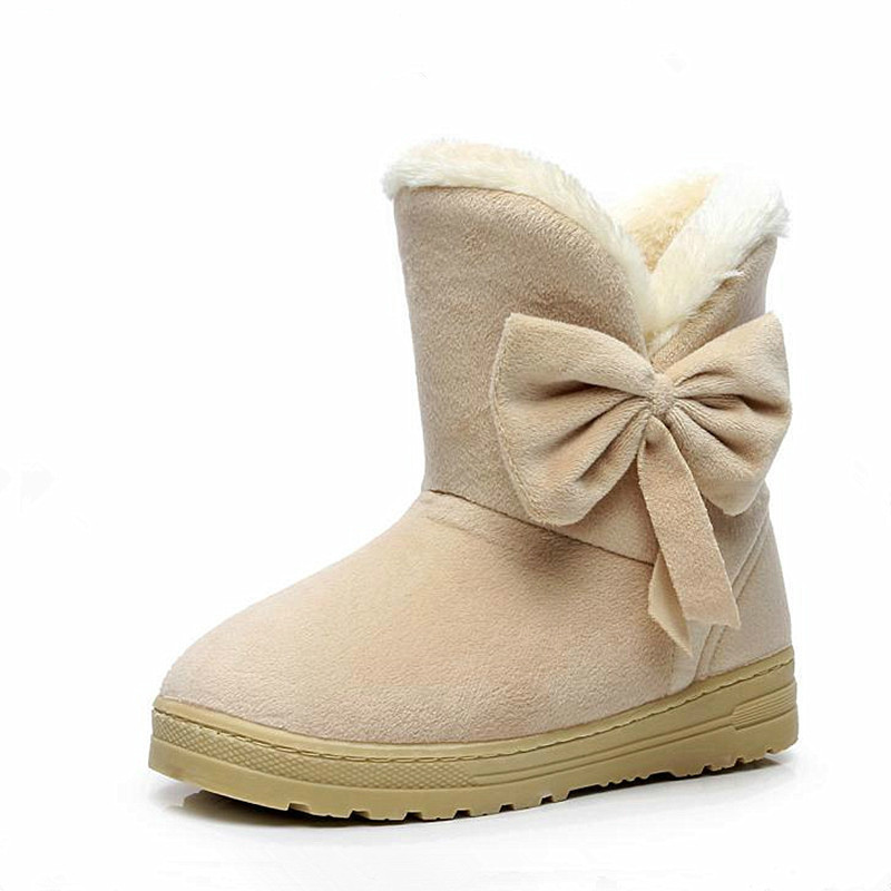 2018 Winter New Hot Sale Women Snow Boots Solid Bowtie Slip-On Soft Cute Women Boots Round Toe Flat with Winter Shoes 4 colors hot sale shoes women boots solid slip on soft cute women snow boots round toe flat with winter fur ankle boots