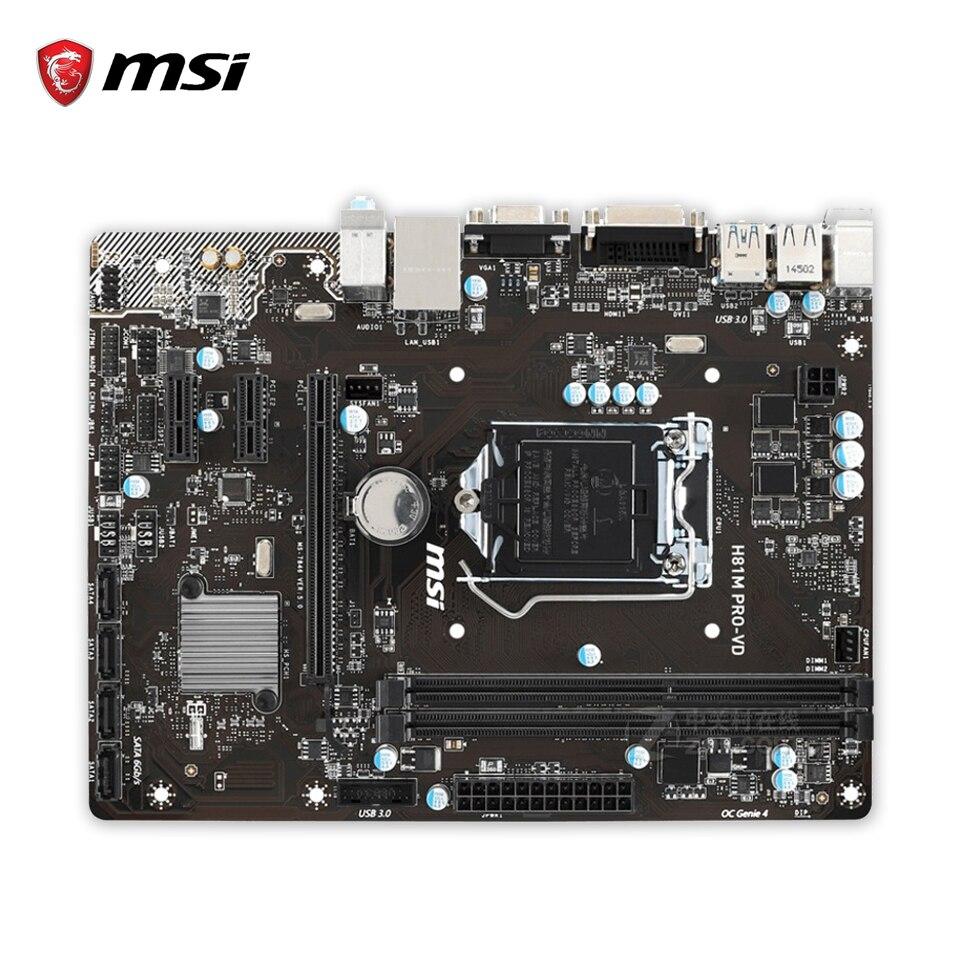MSI H81M PRO-VD Original Used Desktop Motherboard H81 Socket LGA 1150 i3 i5 i7 DDR3 16G SATA3 USB3.0 Micro-ATX материнская плата asus h81m r c si h81 socket 1150 2xddr3 2xsata3 1xpci e16x 2xusb3 0 d sub dvi vga glan matx