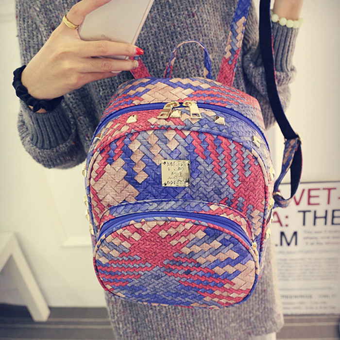 2017 spring Korean version of the new street fashion trend color weaving  bag college wind mini small backpack 2017 winter fashion leisure quality waterprof pu men backpack college windbag trend korean version of the tide travellaptop bag