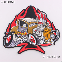 ZOTOONE Large Heart Car Fire Punk Rock Patch Applique Iron on Motorcycle Embroidered Biker Patches for Clothes Stickers Badges D