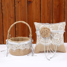 2pcs Set Luxury Linen Wedding Flower Basket Lace 19x19 Ring Pillow 18x13 Girl Creative Decoration