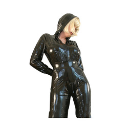 Nieuwe 100% Latex Full-body Strakke Bodysuit Hooded Pak 0.4mm Size XXS-XXL