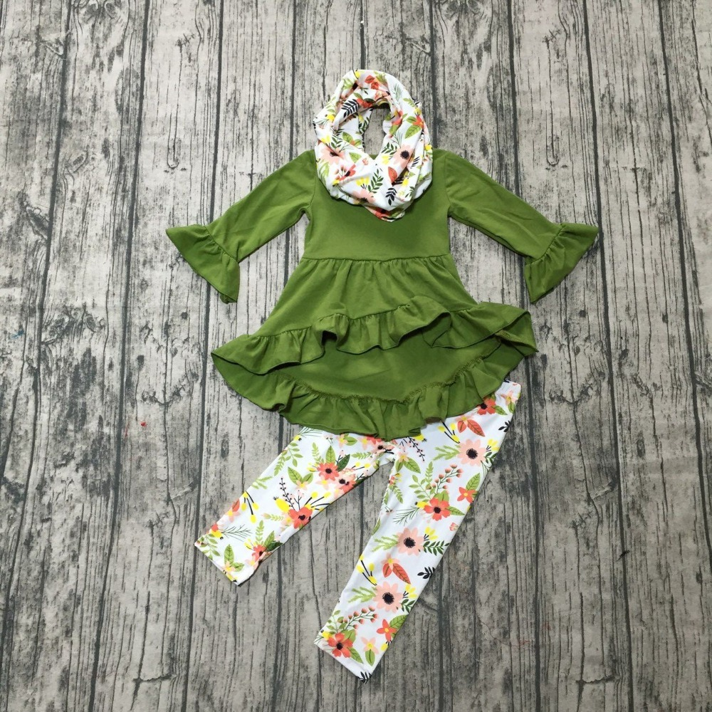 new Fall/winter 3 pieces scarf baby girls kids wear outfits cotton oliver leaf floral milk silk pant boutique children clothing oliver l before i fall