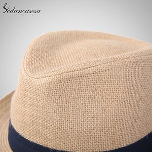 Image 4 - אופנה גברים פדורה כובעי קש לנשים איש חג חוף קיץ שמש כובע יוניסקס פשתן טרילבי כובעי סומבררו Hombre Verano מגניב