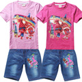 2016 New summer children denim jeans pants + t shirt clothing set baby girls Trolls cartoon clothes suit kids clothes set