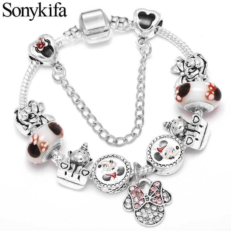 Sonykifa Dropshipping Silver Snake Chain Charm Bracelet Kids Cute Mickey Minnie Pandoro Bracelet Women Christmas Jewelry
