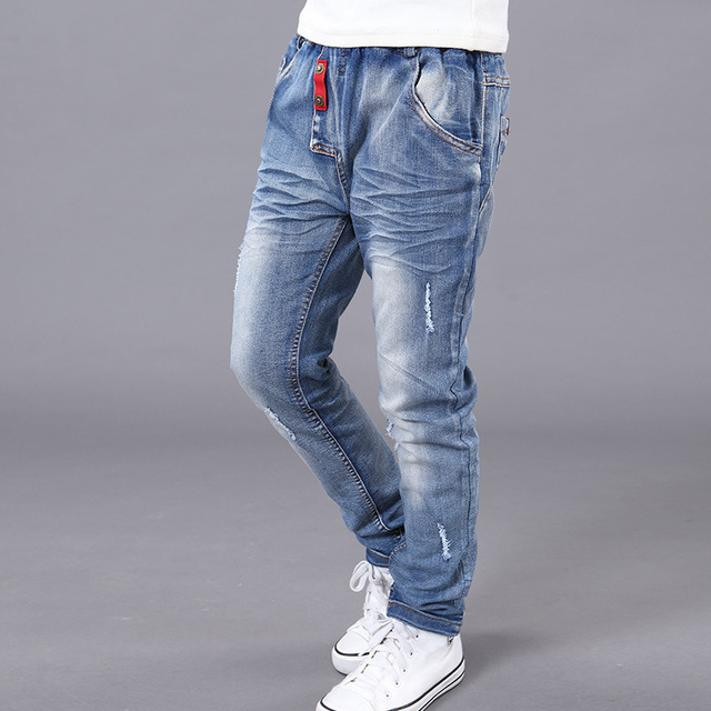 New Design Children's Denim Pants For Boy Summer 2016 Solid Straight Hole Kids Boys Jeans Fashion Children's Trousers Clothes