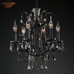 Image 3 - 19th C. Rococo Iron & Crystal Chandelier Lighting Modern Retro LED Chandeliers Pendant Lamp Hanging Light for Living Dining Room