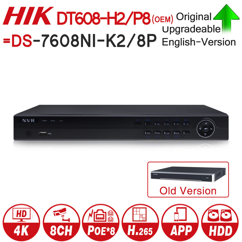 Hikvision OEM NVR DT608-H2/P8 = DS-7608NI-K2/8P 8CH POE NVR 8MP 4K Record 2 SATA for POE Camera Security Network Video Recorder видеорегистратор ivue nvr 882k25 h2