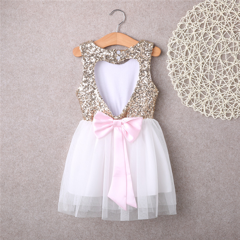 New Arrival Kids Baby Flower Girl Sequins Princess Dress Love Heart Bowknot Backless Party Gown Pageant Wedding Dress 3-10T muqgew 2018 new arrival baby dress