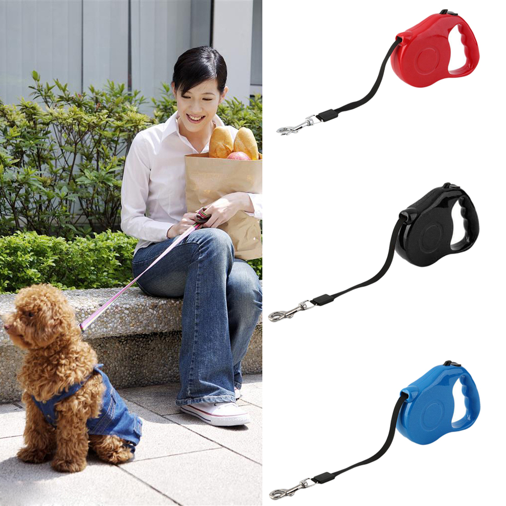3m Retractable Pet Leash Lead One-handed Lock Training Lead Puppy Rope Walking Nylon Leash Adjustable Dog Collar for Dogs Cats
