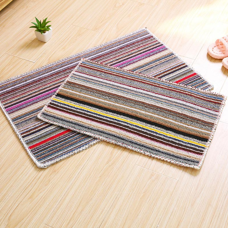 1 Pcs Entrance Door Mat Colored Stripe Water Absorption Kitchen Bathroom Carpets Anti-slip Hot Sale