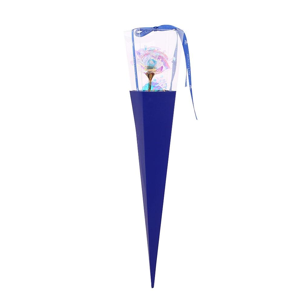 24K Цвет Золото Имитация Розы День Святого Валентина Свадьба для вашего любимого красивый юбилей украшения дома праздник - Цвет: blue box