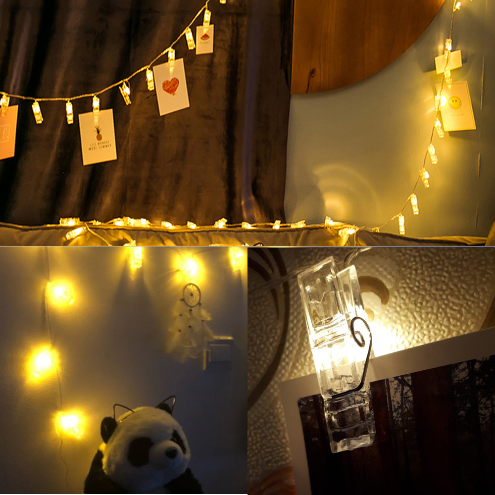 Garlands Card Photo Clip Led String Light 10 20 Leds Battery Ed Home Bed Fairy Lights New Year Christmas Wedding Decoration