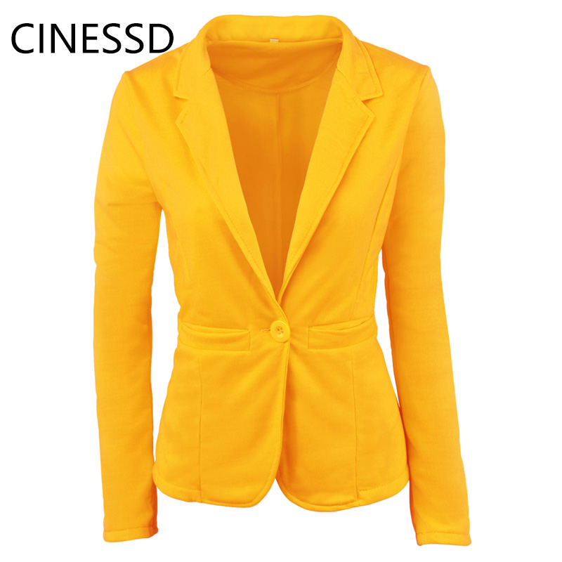 CINESSD 2019 Popular Candy Color Long-Sleeved V-Neck Casual Suit One Button Ladies Suit