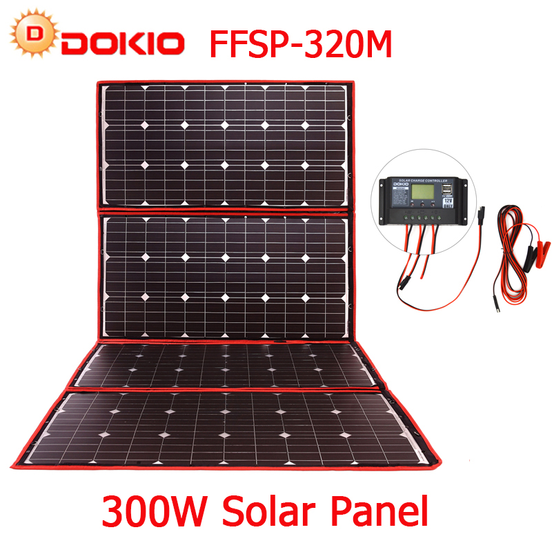 Dokio 300W 18V Flexible Foldable Solar Panel Hiqh Quality Portable Solar Panel China For Camping/Boat/RV/Travel/Home/Car 300w solar system from china suit for car ship boat with six pcs of module 50w and mppt solar conroller