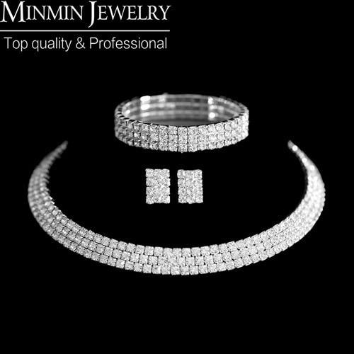 bridal Jewelry sets 925 Silver Circle Czech Rhinestone Crystal Wedding African Jewelry Set Necklace Earrings Bracelet