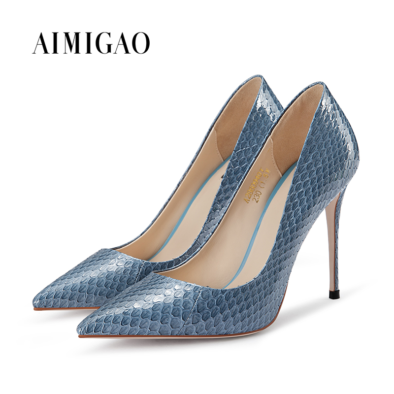 Blue Black Snakeskin Womens Pumps Shoes Pointed Toe Stilettos High Heel Pumps Solid Color Super Heels 10.5 CM Daily Office Shoes sequined high heel stilettos wedding bridal pumps shoes womens pointed toe 12cm high heel slip on sequins wedding shoes pumps