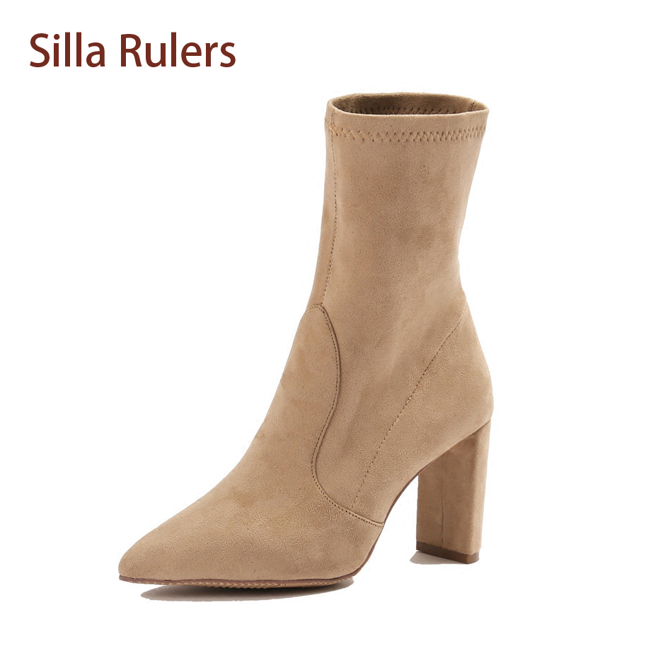Silla Rulers Hot Selling Women Nude Boots Leather Flock Ankle Pointed Toe Bota Block Heel Black White Comfortable Chelsea Bootie new arrival superstar genuine leather chelsea boots women round toe solid thick heel runway model nude zipper mid calf boots l63