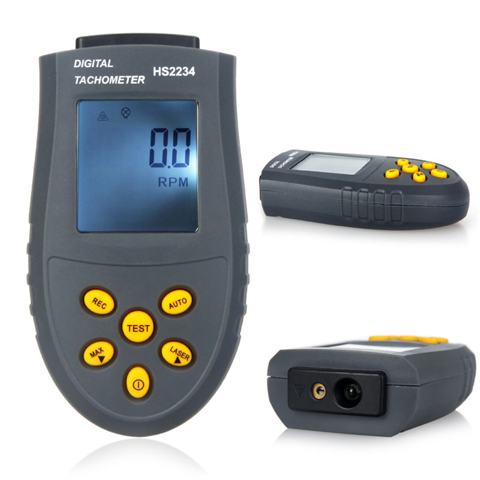 Digital Tachometer Engine Speed Tester Laser Photo Tachometer Non Contact Speed Meter HS2234 (No Battery)