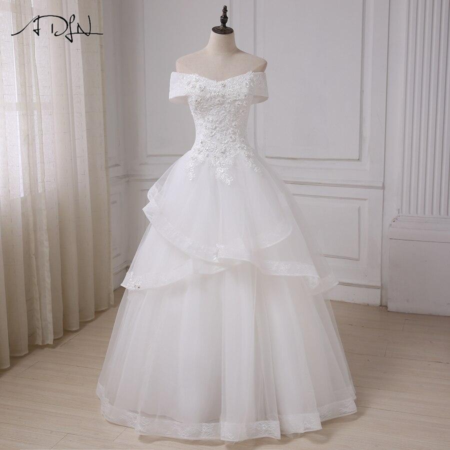 ADLN Ivory Boat Neck Wedding Dresses Applique Beaded Tulle A-line Bridal Gowns Custom Vestidos De Novia  Robe De Mariage