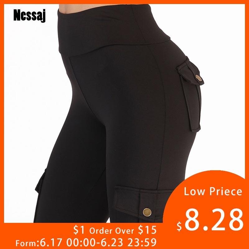 Nessaj High Waist Fitness   Leggings   Women Pocket   Leggings   Solid Color Push Up   Legging   Women Clothing Polyester   Leggings