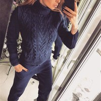 Fashion Women Cashmere 2 Piece Set Autumn Winter Turtleneck Sweater and Harem Pants Loose Suit Casual Knitted Outfits