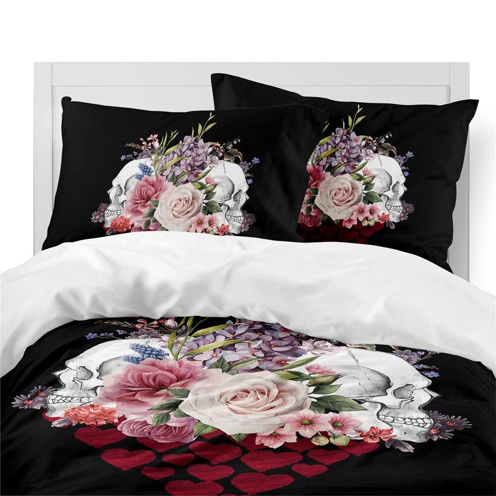 Couples Sugar Skull Bedding Set Rose Heart Printed Duvet Cover Set Valentine 39 s Day Bedding Bedroom Decor Pillowcase 3pcs D30 in Bedding Sets from Home amp Garden