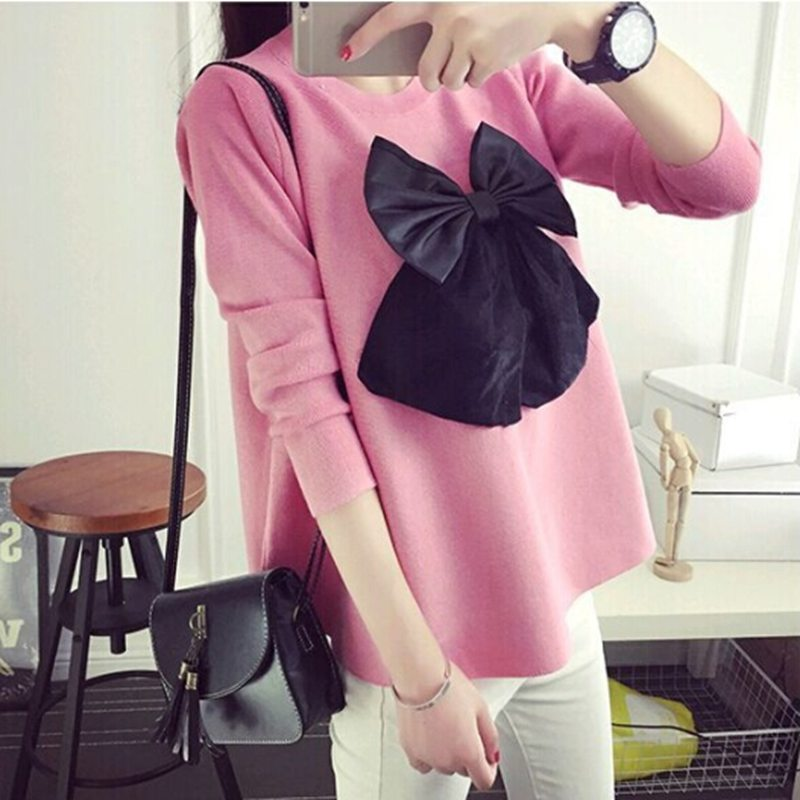 Autumn New Sweet Korean Version Of The Three-dimensional Bow Pregnant Women Sweater Sweater Pregnant Women Sweater