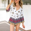 2017 Summer Women Vintage Floral Jumpsuit Deep V neck Sexy Boho Playsuits Long Sleeve Casual Beach Short Rompers Overalls