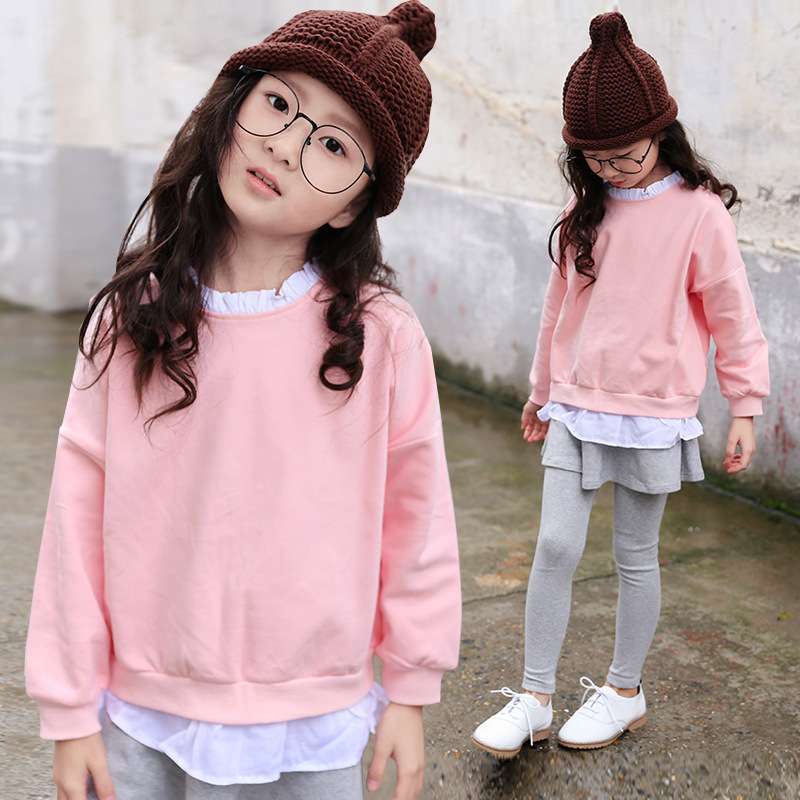 Kids spring and autumn bat sleeve suit children's skirts pants + cotton long-sleeved sweater 3-10 years old baby girl clothes