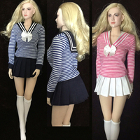 1/6 Female Navy blue Pink T-Shirt Dress W Socks Uniforms Suit Set F 12
