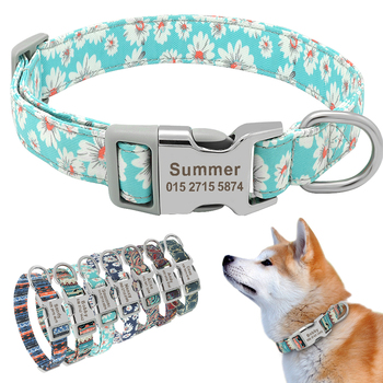 Custom Engraved Dog Collar Personalized Printed Pet Dog Tag Collar Nylon Puppy Cat Name Phone ID Collars For Small Large Dogs custom dog collar personalzied nylon pet dog id tag collars engraved printed puppy collar leash for small medium large dogs