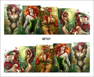 1 Sheet Nail MT41 Poison Ivy Girl Green Sexy Cartoon Lady Fashion Nail Art Water Transfer Sticker Decal For Nail Art Decoration