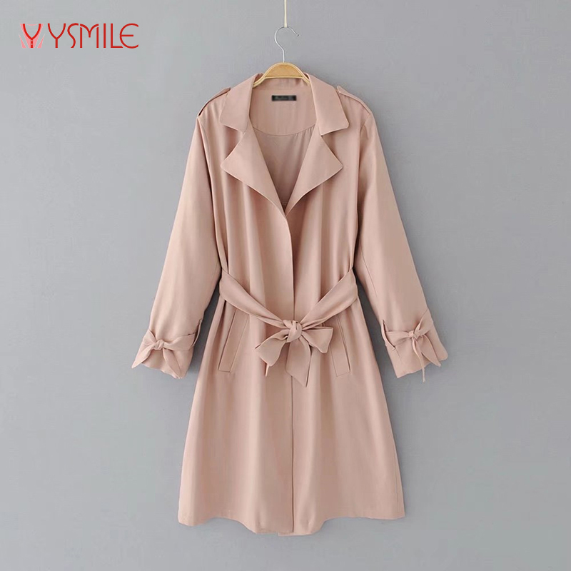 2017 Women Spring Autumn Trench Classic Style Long Outerwear Loose Clothes With Waist Windbreaker Coat 2