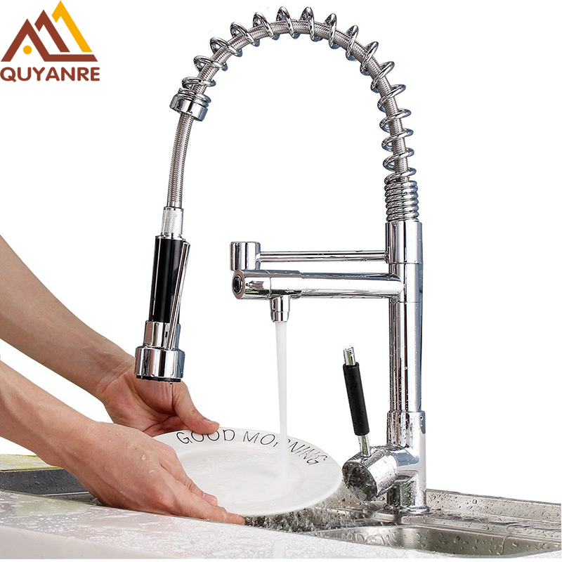 Quyanre Kitchen Faucet Spring Faucets Single Handle 360 Rotation Kitchen Faucets Mixer Tap Sink Faucet newly arrived pull out kitchen faucet gold sink mixer tap 360 degree rotation torneira cozinha mixer taps kitchen tap