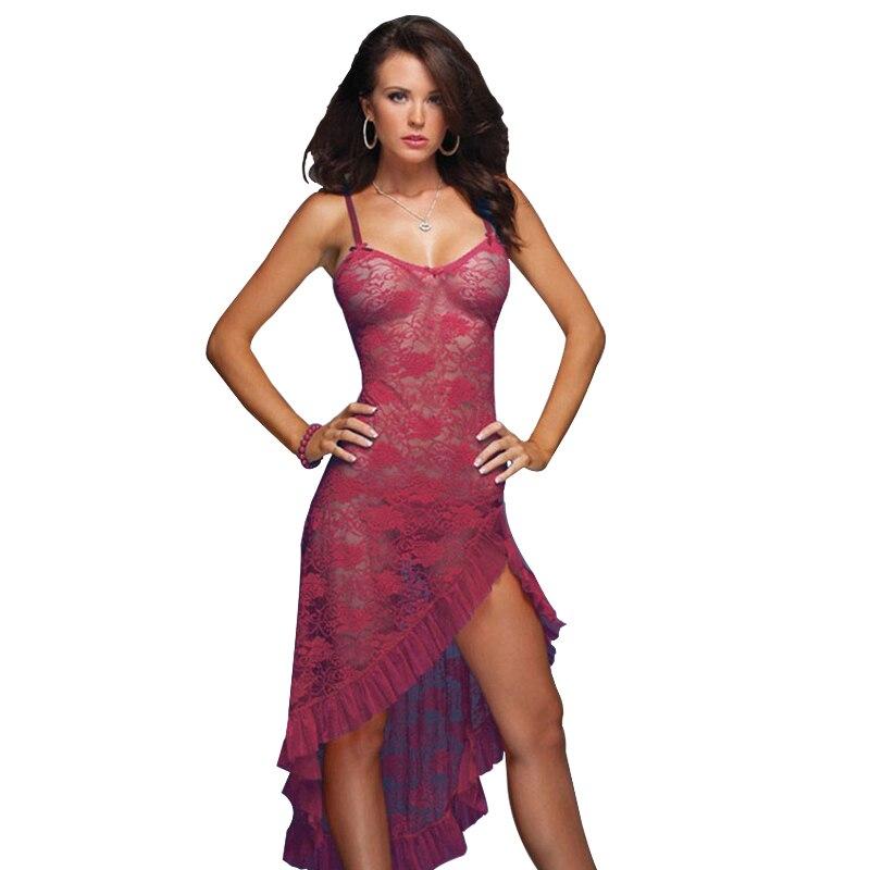 Vestido largo para mujer Lencería sexy Ropa de dormir Tallas grandes 3XL 4XL 5XL 6XL Camisón 2018 Ropa de dormir Vestido de dama Ropa interior + Tanga