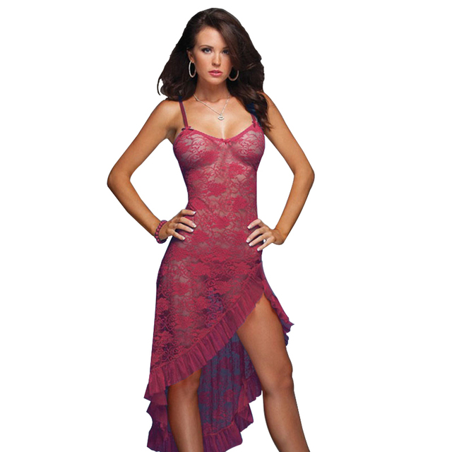 ce67979a24c Women Long Dress Sexy Lingerie Sleepwear Plus Size 3XL 4XL 5XL 6XL  Nightgown 2018 Nightwear Lady Underwear Dress+G-string