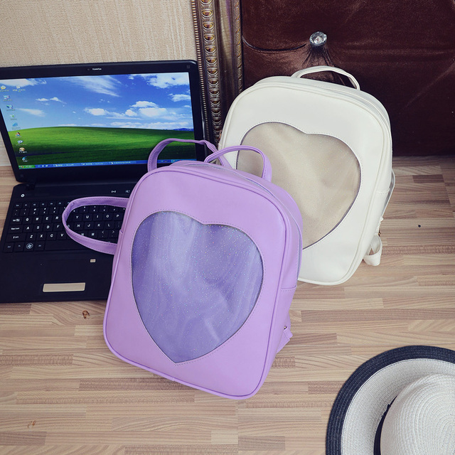 2017 new Transparent double Korean leisure travel bag ladies Pu schoolbag youth movement of the heart backpack