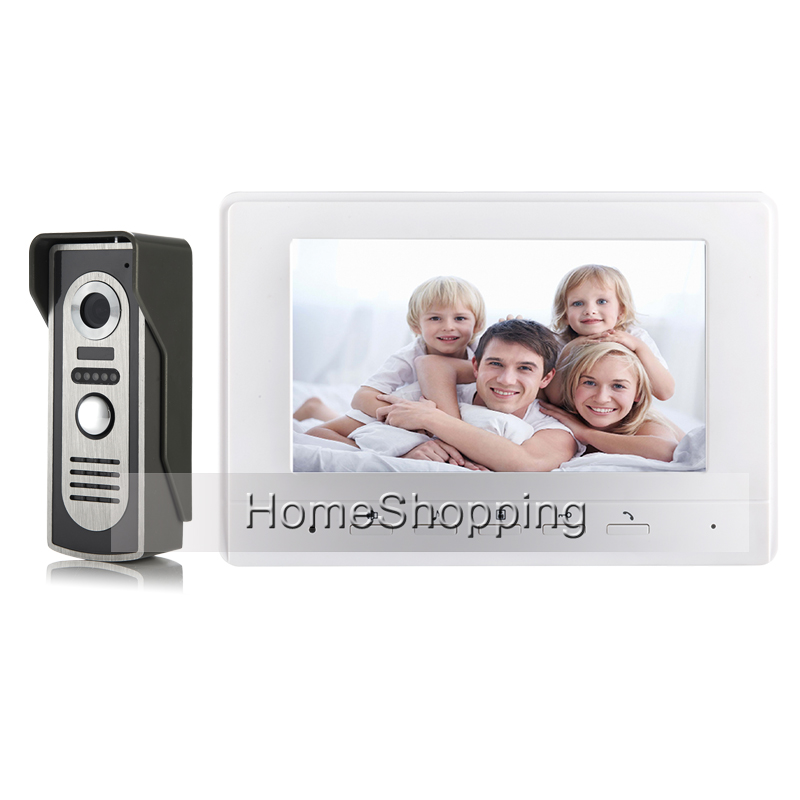 FREE SHIPPING BRAND 7 Color Screen Video Door phone Doorbell Intercom System 1 Waterproof Door Camera 1 White Monitor WHOLESALE brand new wired 7 inch color video intercom door phone set system 2 monitor 1 waterproof outdoor camera in stock free shipping