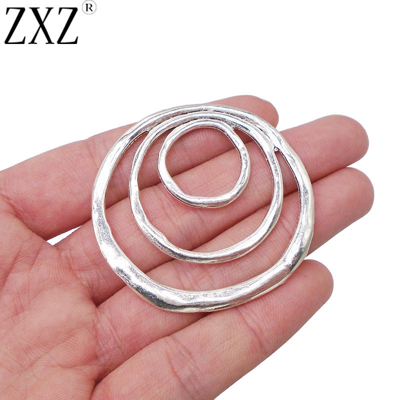 2pcs Large Antique Silver Irregular Flower Spiral Design Charms Pendants