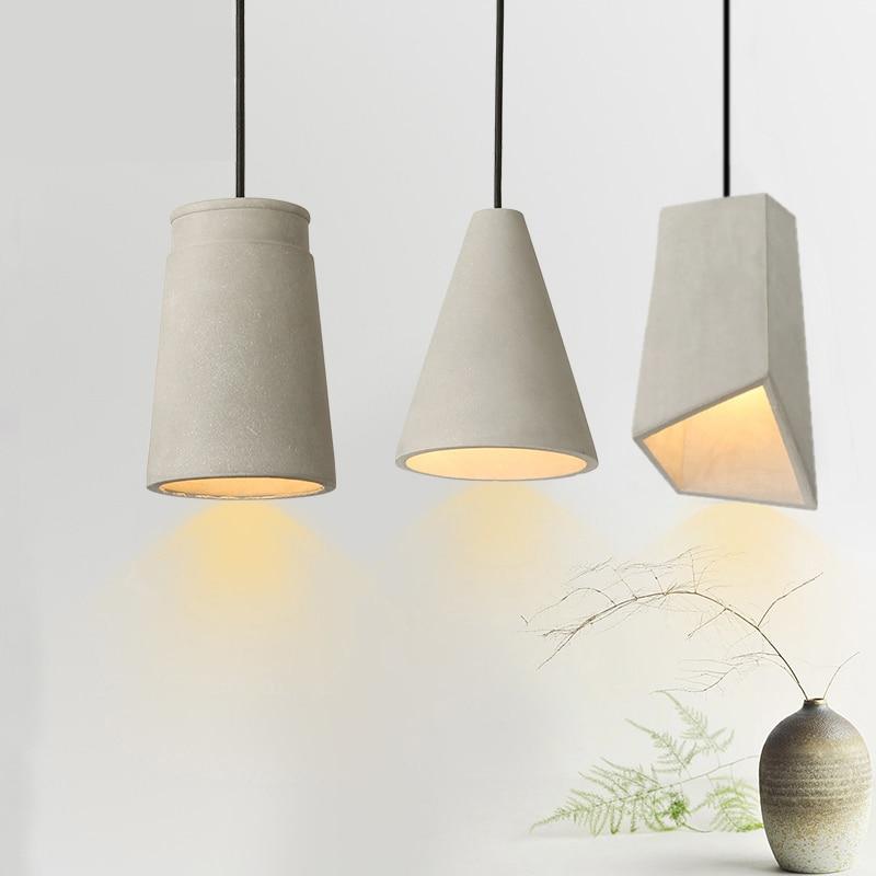 danish design loft concrete pendant light bedroom bedside hanging lamp cement restaurant dining room lamp