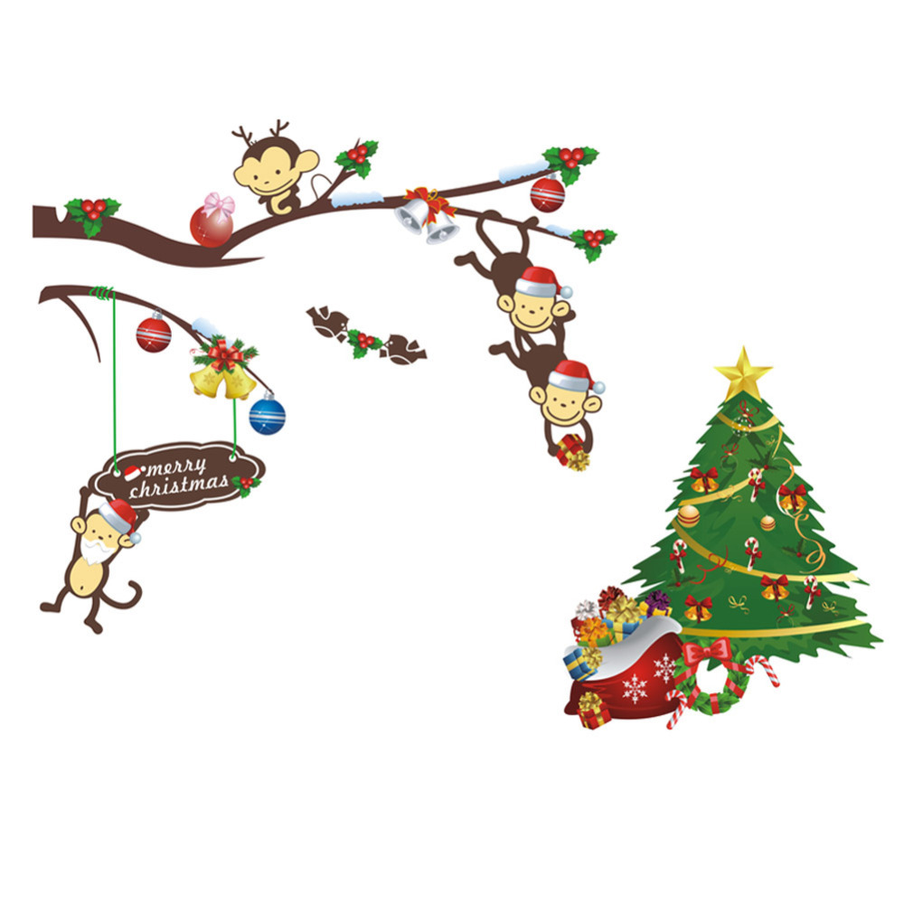 Multicolor Christmas Tree Wall Sticker